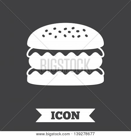 Hamburger icon. Burger food symbol. Cheeseburger sandwich sign. Graphic design element. Flat sandwich symbol on dark background. Vector