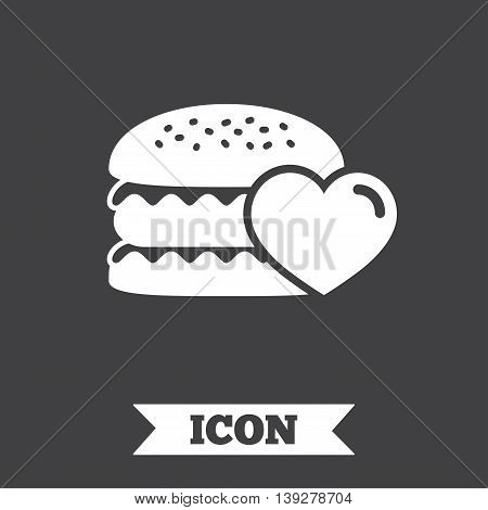 Hamburger icon. Burger food symbol. Cheeseburger sandwich sign. Graphic design element. Flat cheeseburger symbol on dark background. Vector