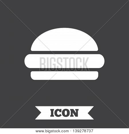Hamburger sign icon. Fast food symbol. Junk food. Graphic design element. Flat hamburger symbol on dark background. Vector