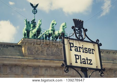Pariser Platz Street Sign And Brandenburg Gate