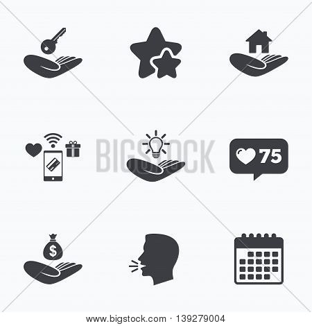 Helping hands icons. Financial money savings insurance symbol. Home house or real estate and lamp, key signs. Flat talking head, calendar icons. Stars, like counter icons. Vector