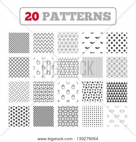 Ornament patterns, diagonal stripes and stars. Hand icons. Handshake successful business symbol. Click here press sign. Human helping donation hand. Geometric textures. Vector