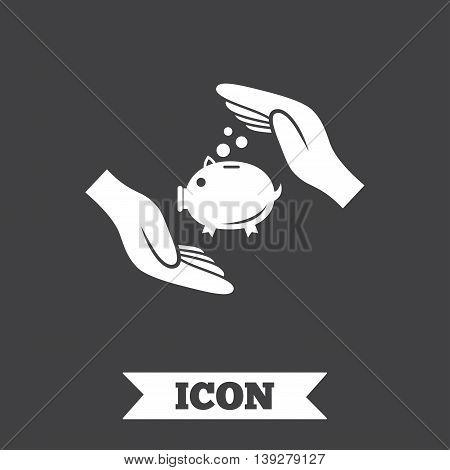Piggy bank money sign icon. Hands protect moneybox symbol. Money or savings insurance. Graphic design element. Flat insurance symbol on dark background. Vector
