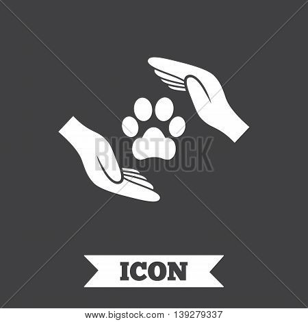 Protection of animals sign icon. Hands protect paw symbol. Shelter for dogs. Animals insurance. Graphic design element. Flat pets insurance symbol on dark background. Vector