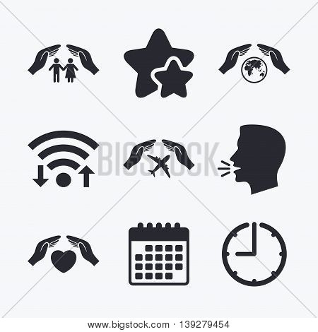 Hands insurance icons. Human life insurance symbols. Heart health sign. Travel flight symbol. Save world planet. Wifi internet, favorite stars, calendar and clock. Talking head. Vector