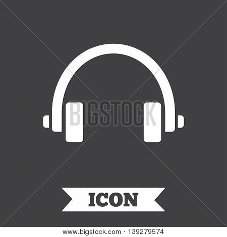 Headphones sign icon. Earphones button. Graphic design element. Flat headphones symbol on dark background. Vector