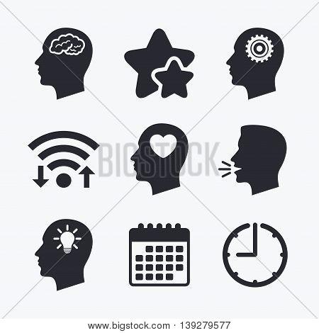 Head with brain and idea lamp bulb icons. Male human think symbols. Cogwheel gears signs. Love heart. Wifi internet, favorite stars, calendar and clock. Talking head. Vector