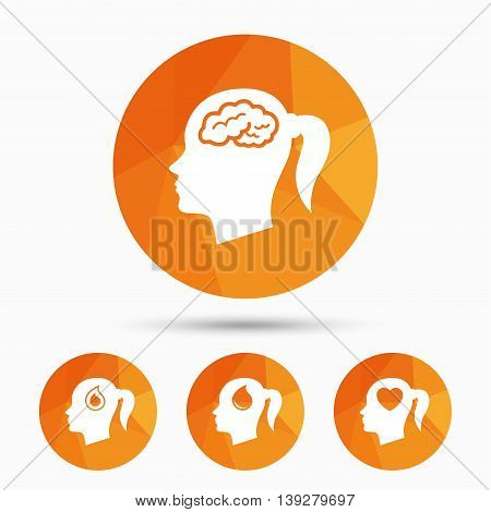 Head with brain icon. Female woman think symbols. Blood drop donation signs. Love heart. Triangular low poly buttons with shadow. Vector