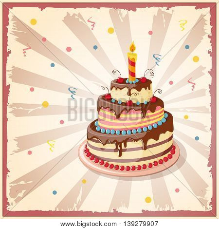 Festive colorful card on the craft paper with cake tier candle and cherry on the vintage background. eps10.