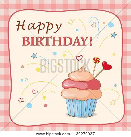 Festive colorful card with text Happy Birthday cake candy and hearts on the vintage background. eps10.
