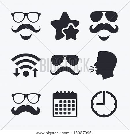 Mustache and Glasses icons. Hipster with beard symbols. Facial hair signs. Wifi internet, favorite stars, calendar and clock. Talking head. Vector