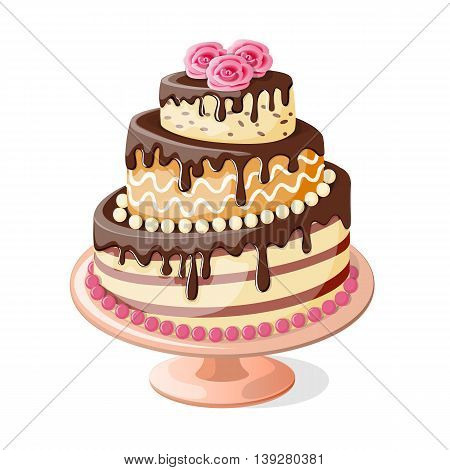 Festive colorful isolated cake tier with roses on the white background. Image for birthday or wedding card. eps10.