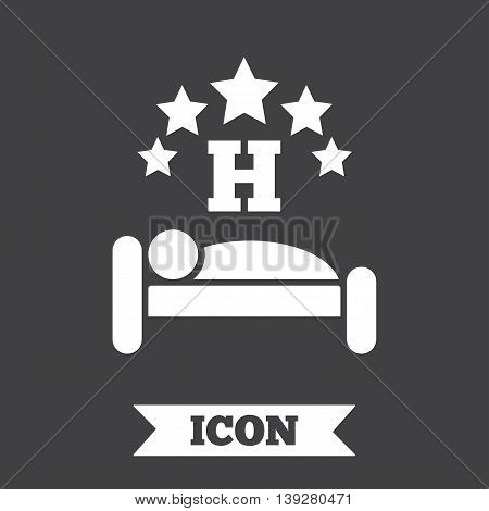 Five star Hotel apartment sign icon. Travel rest place. Sleeper symbol. Graphic design element. Flat hotel symbol on dark background. Vector