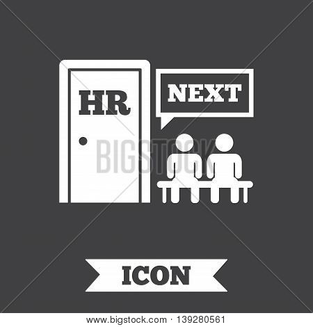 Human resources sign icon. Queue at the HR door symbol. Workforce of business organization. Graphic design element. Flat human resources symbol on dark background. Vector