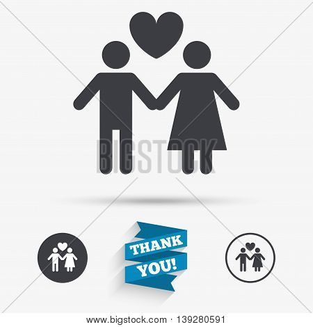 Couple sign icon. Male love female. Lovers with heart. Flat icons. Buttons with icons. Thank you ribbon. Vector