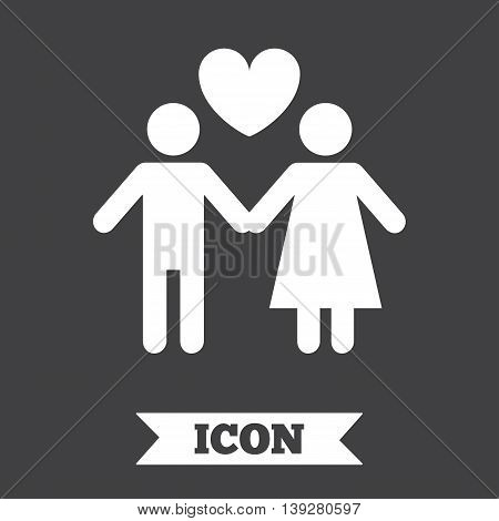 Couple sign icon. Male love female. Lovers with heart. Graphic design element. Flat couple symbol on dark background. Vector