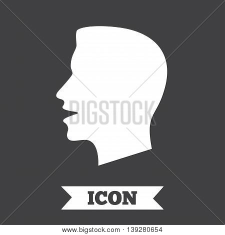 Talk or speak icon. Loud noise symbol. Human talking sign. Graphic design element. Flat talk symbol on dark background. Vector