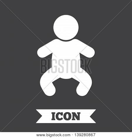 Baby infant sign icon. Toddler boy in pajamas or crawlers body symbol. Child WC toilet. Graphic design element. Flat baby infant symbol on dark background. Vector