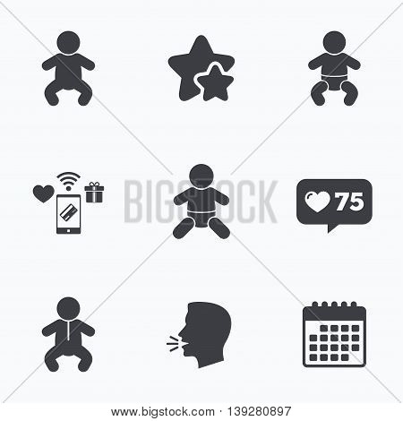 Newborn icons. Baby infant or toddler symbols. Child silhouette. Flat talking head, calendar icons. Stars, like counter icons. Vector