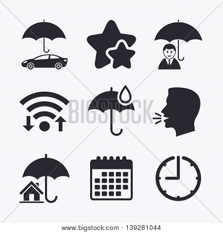 Life, Real estate or Home insurance icons. Umbrella with water drop symbol. Car protection sign. Wifi internet, favorite stars, calendar and clock. Talking head. Vector