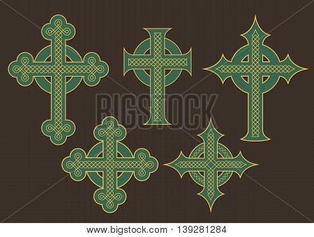 Set of six vector illustrations of crosses with ornate celtic knot ornaments.