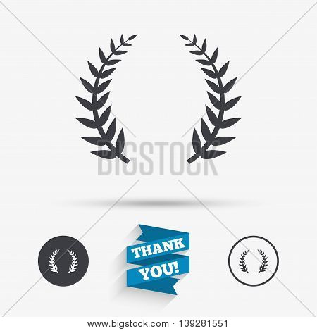 Laurel Wreath sign icon. Triumph symbol. Flat icons. Buttons with icons. Thank you ribbon. Vector