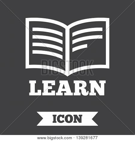 Learn Book sign icon. Education symbol. Graphic design element. Flat learn symbol on dark background. Vector