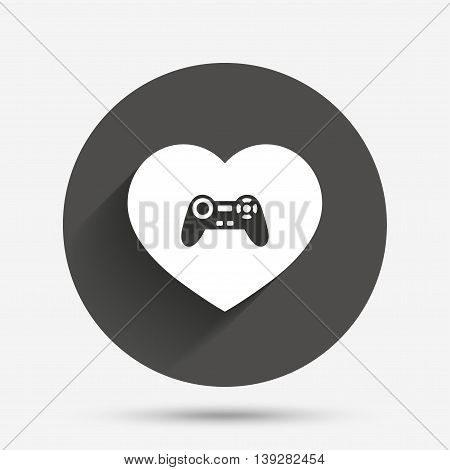 Joystick sign icon. Like Video game symbol. Circle flat button with shadow. Vector