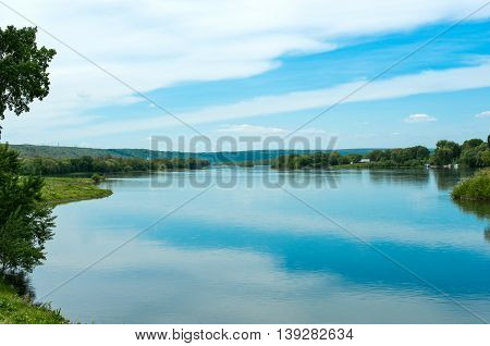 spring landscape of the Dniester River on the border of Moldova and Ukraine
