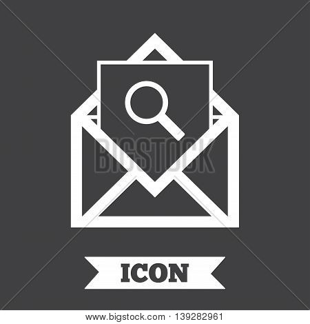 Mail search icon. Envelope symbol. Message sign. Mail navigation button. Graphic design element. Flat mail search symbol on dark background. Vector