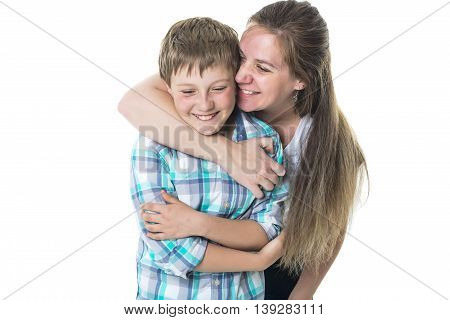 A Happy mother and son over white background
