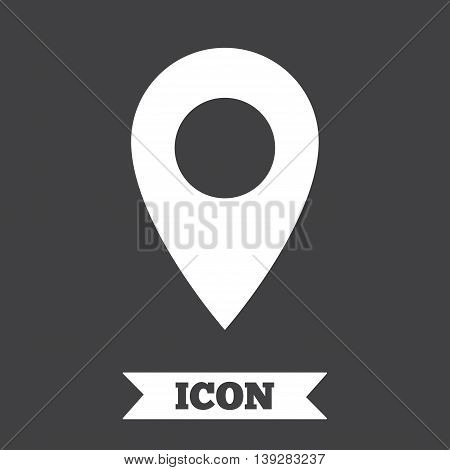 Map pointer icon. GPS location symbol. Graphic design element. Flat map pointer symbol on dark background. Vector