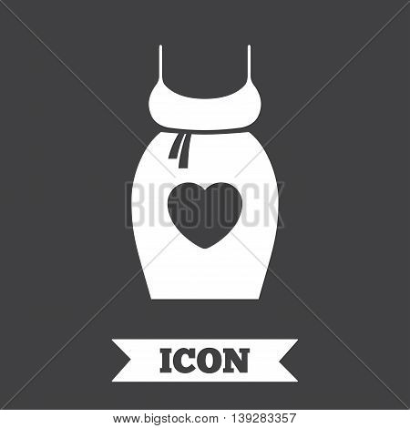 Pregnant woman dress sign icon. Maternity with heart clothing symbol Graphic design element. Flat maternity symbol on dark background. Vector