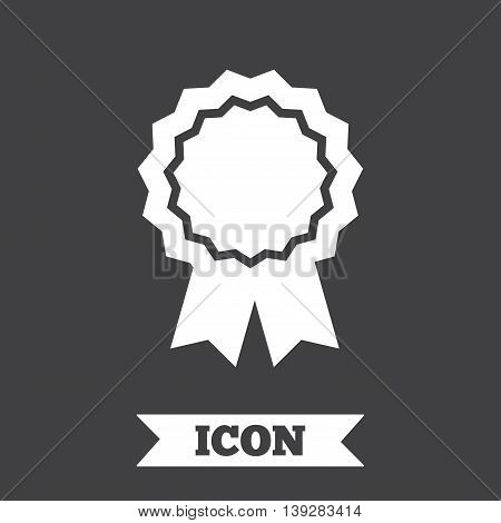 Award medal icon. Best guarantee symbol. Winner achievement sign. Graphic design element. Flat medal symbol on dark background. Vector