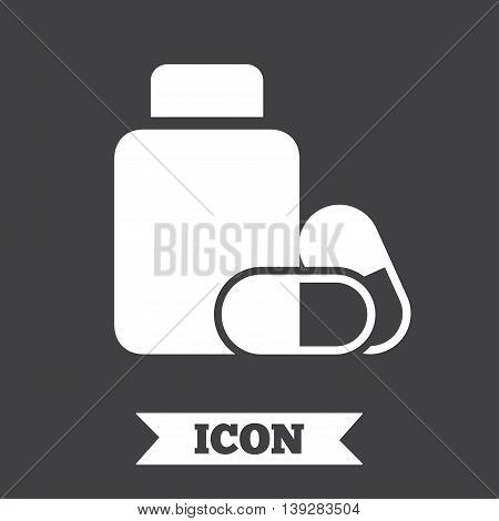 Medical pills bottle sign icon. Pharmacy medicine drugs symbol. Graphic design element. Flat pharmacy symbol on dark background. Vector