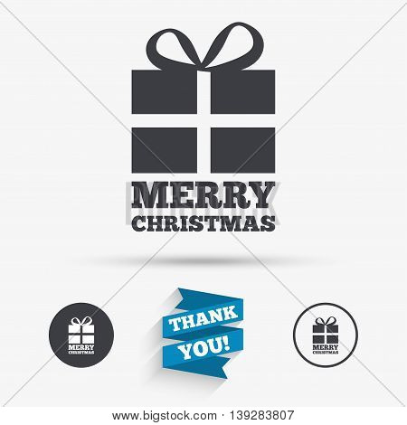 Merry christmas gift sign icon. Present symbol. Flat icons. Buttons with icons. Thank you ribbon. Vector