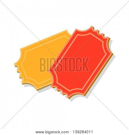 Ticket icon vector illustration in flat style for retro cinema or movie design