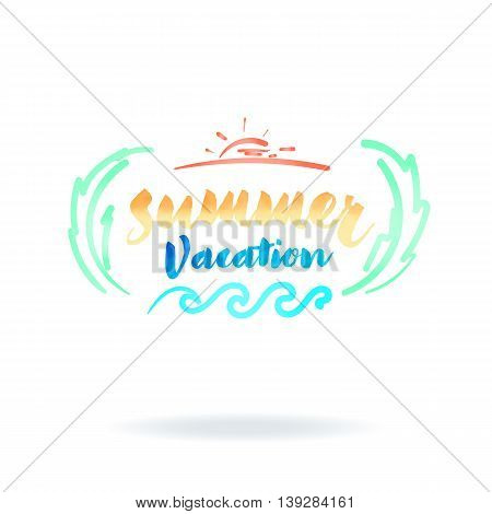 Vector : Summer Vacation Word With Watercolor Texture Logo On White Background, Vacation Concept