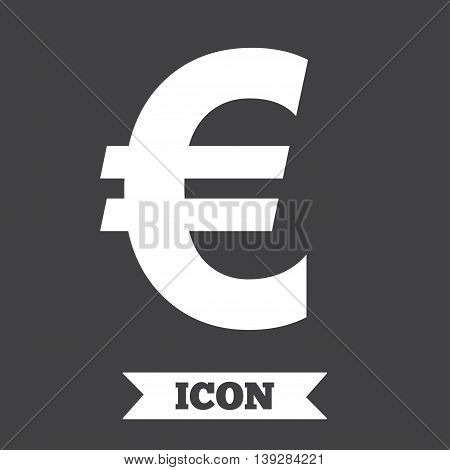 Euro sign icon. EUR currency symbol. Money label. Graphic design element. Flat money euro symbol on dark background. Vector