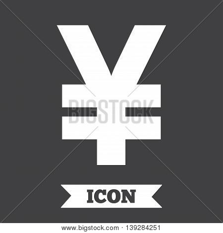 Yen sign icon. JPY currency symbol. Money label. Graphic design element. Flat money yen symbol on dark background. Vector