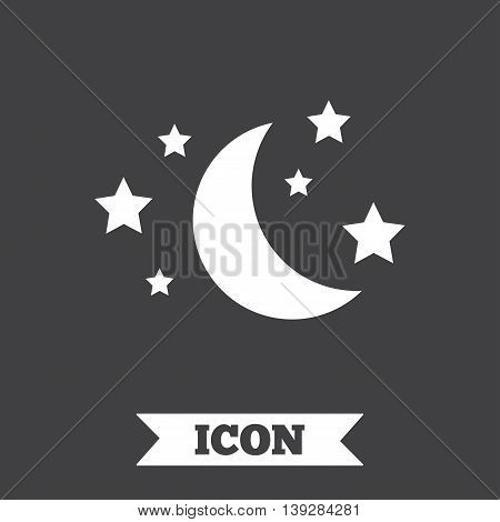 Moon and stars icon. Sleep dreams symbol. Night or bed time sign. Graphic design element. Flat sleep symbol on dark background. Vector