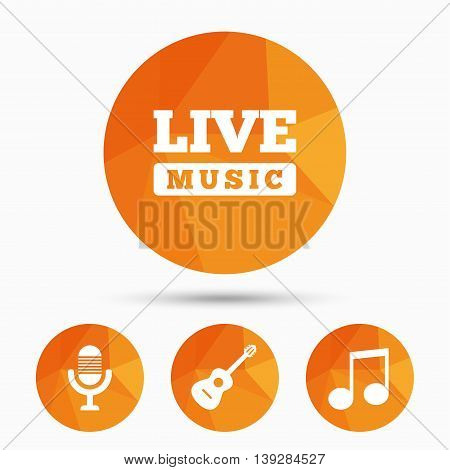 Musical elements icons. Microphone and Live music symbols. Music note and acoustic guitar signs. Triangular low poly buttons with shadow. Vector