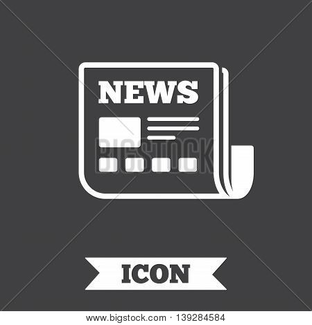 News icon. Newspaper sign. Mass media symbol. Graphic design element. Flat newspaper symbol on dark background. Vector