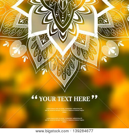 blurred photo realistic floral elements, flat silhouette foliage mandala design marketing modern background illustration. eps10 vector
