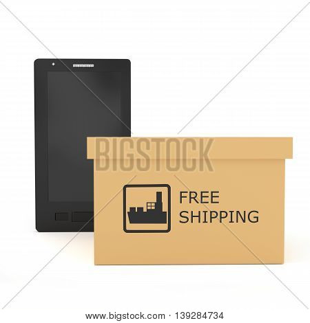 3D Smartphone With Cardboard Boxe With Free Shipping Sign Concept