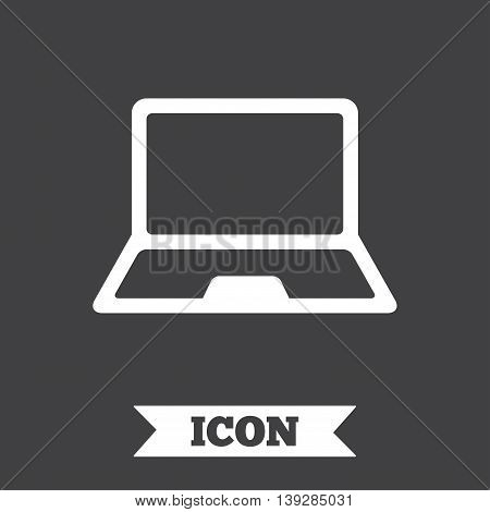 Laptop sign icon. Notebook pc symbol. Graphic design element. Flat notebook symbol on dark background. Vector