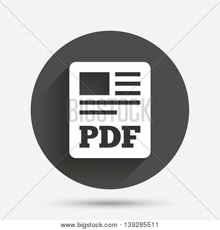 PDF file document icon. Download pdf button. PDF file symbol. Circle flat button with shadow. Vector