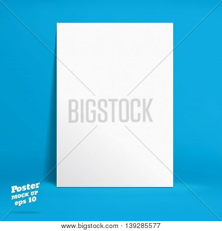 Vector : White Paper Poster In Vivid Blue Studio Room, Template Mock Up For Display Of Product Or Yo