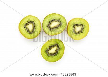 Close Up Kiwi Fruits And Slice Kiwi Fruits Isolated On White Background