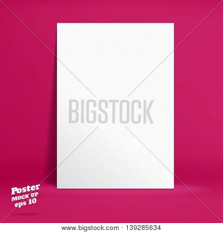 Vector : White Paper Poster In Vivid Pink Studio Room, Template Mock Up For Display Of Product Or Yo